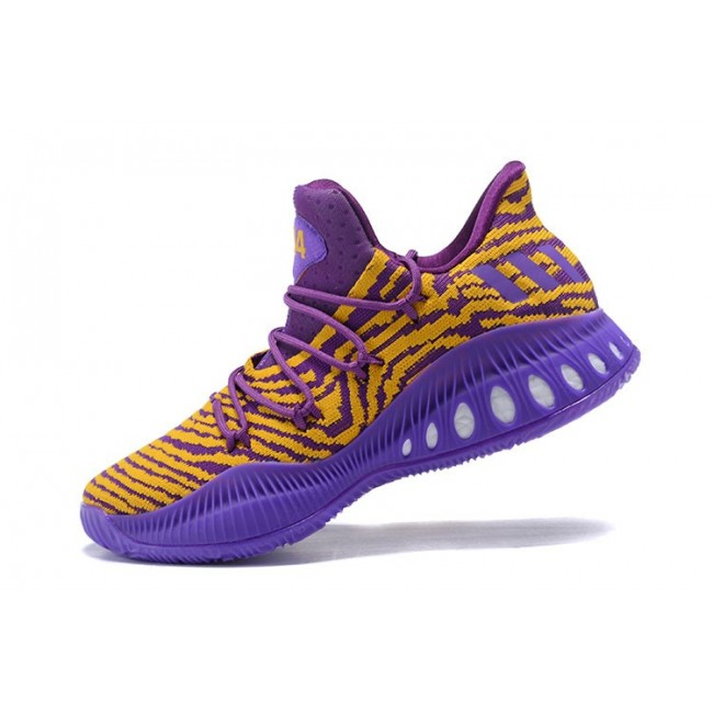 Men Adidas Crazy Explosive Low Lakers PE Purple Yellow Basketball Shoes