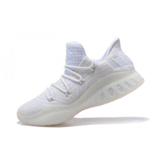 Men New Adidas Crazy Explosive Low Triple White Basketball Shoes On Sale