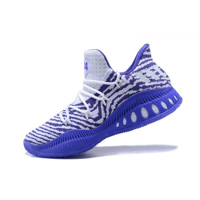 Men New Adidas Crazy Explosive Low White Purple Basketball Shoes