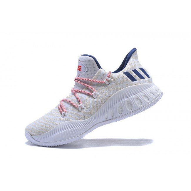 Men New Adidas Crazy Explosive Low White-Royal Blue-Red Shoes