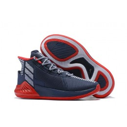 Men Adidas D Rose 9 Navy Blue-Red-White