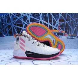 Men Adidas D Rose 9 White Black Pink BB7658