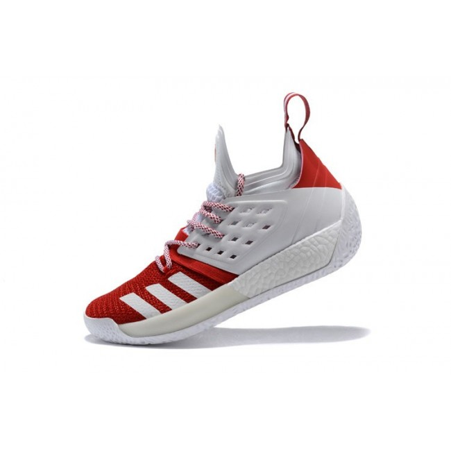 Men Adidas Harden Vol.2 White-Red Basketball Shoes