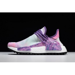 Men/Women Pharrell x Adidas NMD Hu Trail Holi Pink Glow-Flash Green-Lab Purple