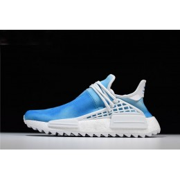 Men/Women Pharrell x Adidas NMD Human Race China Exclusive Peace Blue-White