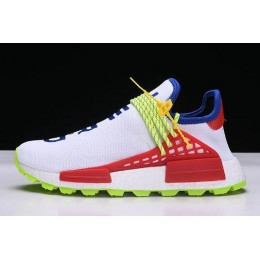 Men/Women Pharrell x NMD Human Race Trail Homecoming White Blue Red