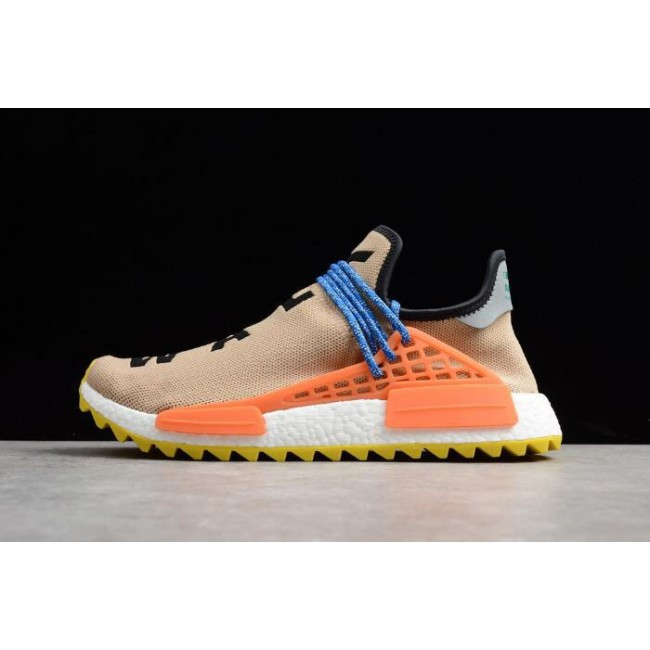 Men Pharrell Williams x Adidas NMD Hu Trail Pale Nude-Core Black-Yellow