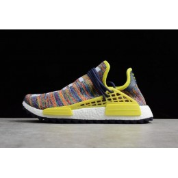 Men Pharrell x Adidas NMD Hu Trail Multicolor Noble Ink-Bold Yellow White