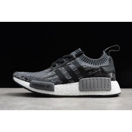 Men Adidas NMD R1 Primeknit Glich Camo Black-Grey Three