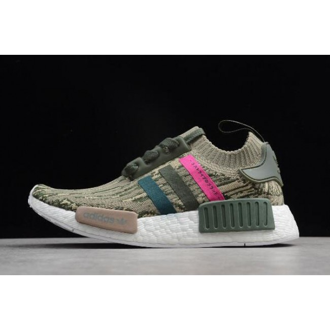 Men/Women Adidas NMD R1 Primeknit Green Night-Shock Pink