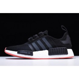 Men New Adidas NMD R1 Black-Carbon-Trace Scarlet Running Shoes