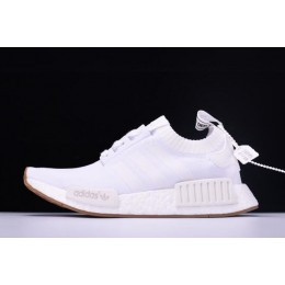 Men/Women New Adidas NMD R1 Primeknit White Gum BY1888