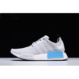 Men/Women New Adidas NMD R1 Runner Light Grey-White-Blue Shoes