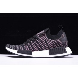 Men/Women New Adidas NMD R1 STLT Primeknit Core Black-Pink-White