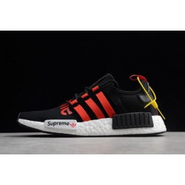 Men/Women Supreme x Adidas NMD R1 Black-Gym Red-White