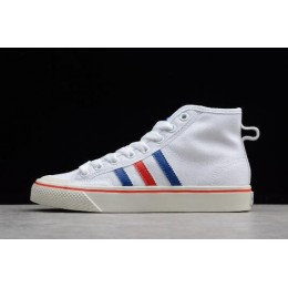 Men/Women 2018 New Adidas Nizza Hi White-Royal Blue-Red
