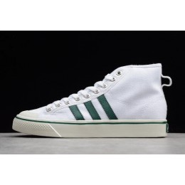 Men/Women Adidas Nizza Blanc Bordeaux Hi White-Green