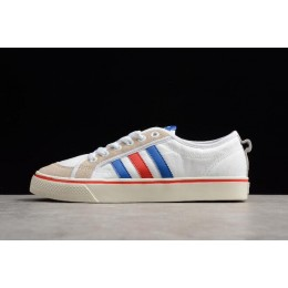 Men/Women Adidas Nizza White Blue Red Shoes AF6288