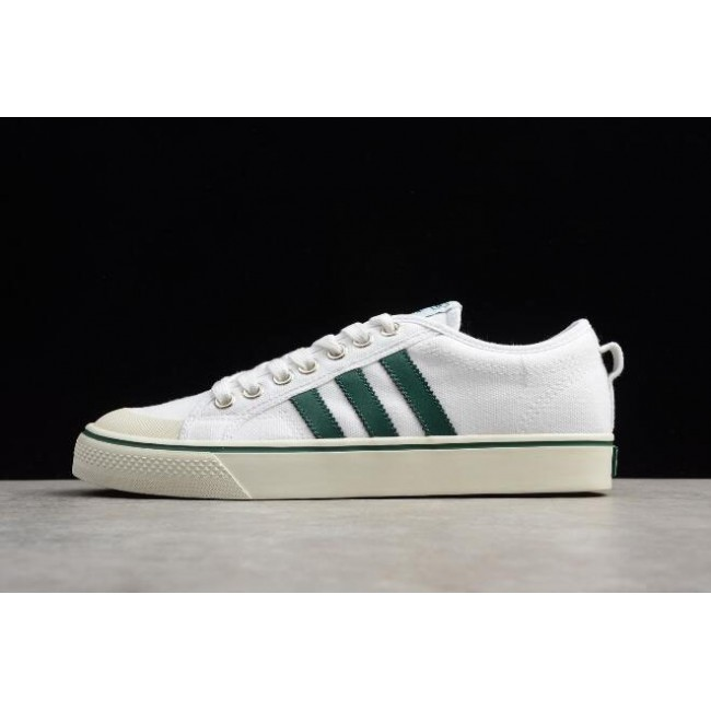Men/Women Adidas Nizza White Green Canvas and Size Shoes