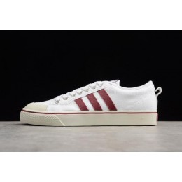 Men/Women Mens and WMNS Adidas Nizza White-Red Canvas Shoes