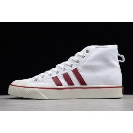 Men/Women New Adidas Nizza High-Top White-Red and Size