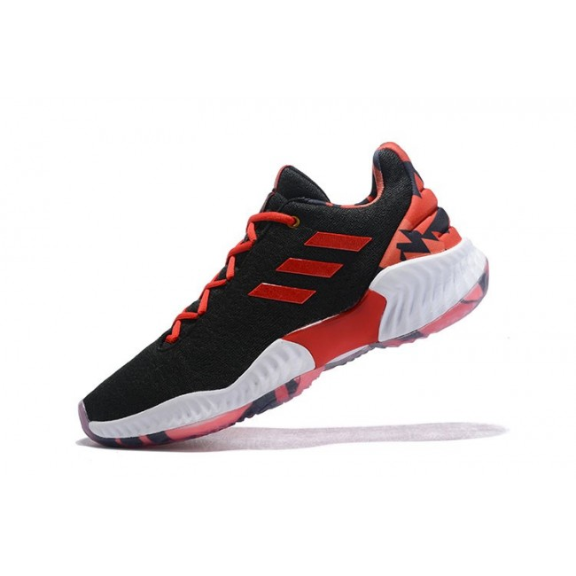 Men Adidas Pro Bounce Low 2018 Black-University Red-White