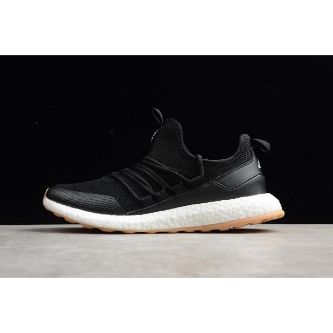 Men New Adidas Pure Boost Black-White-Gum Running Shoes