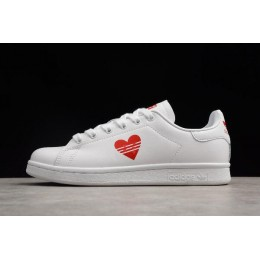 Men/Women Custom Adidas Stan Smith Valentines Day White-Red Limited Edition