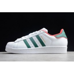 Men/Women Adidas Superstar White Red Green Unisex Leather Sneakers