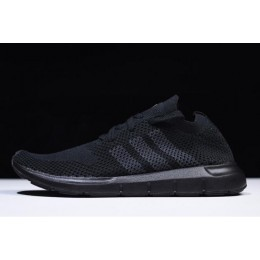 Men Adidas Originals Swift Run Primeknit Triple Black Sneaker