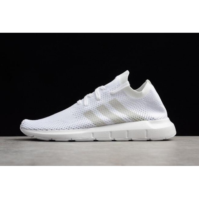 Men/Women Adidas Swift Run Primeknit Triple White Size