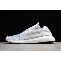 Men/Women Adidas Swift Run Primeknit White Blue Black