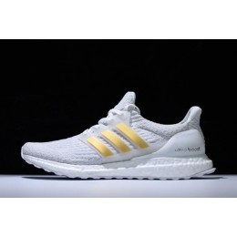 Men New Adidas Ultra Boost 3.0 White Gold