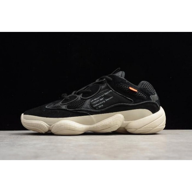 Men/Women Off-White x Kanye West x Adidas Yeezy 500 Black-White
