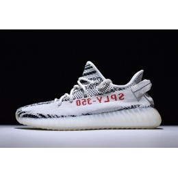 Men/Women Adidas Yeezy 350 Boost V2 Zebra White-Core Black-Red