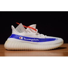 Men/Women Champion x Adidas Yeezy Boost 350 V2 White Royal