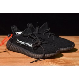 Men/Women Supreme x Adidas Yeezy Boost 350 V2 Black-White