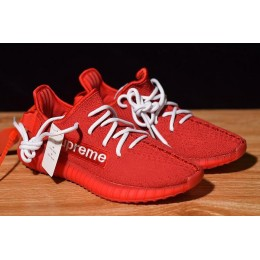 Men/Women Supreme x Adidas Yeezy Boost 350 V2 Red-White